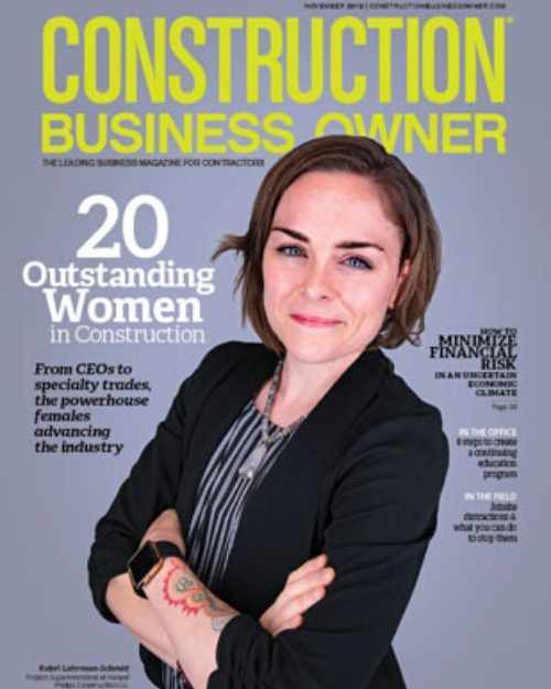 Women construction worker on the cover of Construction Business Owner magazine