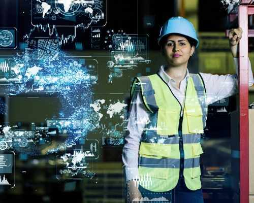 Woman Construction Worker With Data