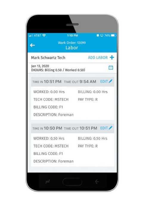 Screenshot of Service Tech on mobile phone.