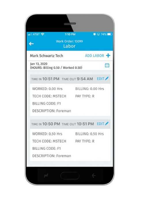 Mobile Device with Screenshot of the Service Tech App