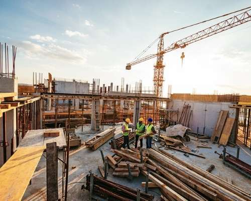 Contractors Gathering at a Construction Site