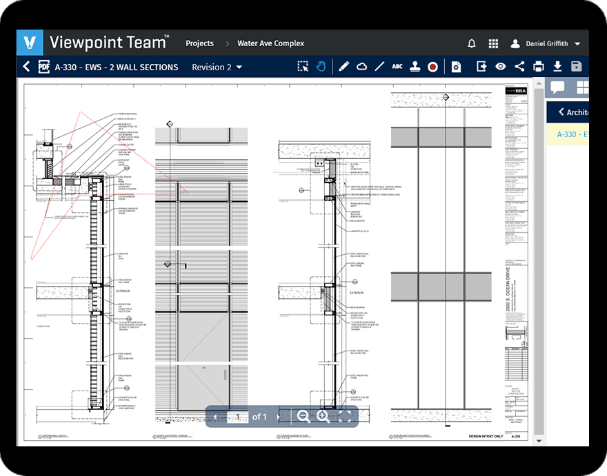 Viewpoint Team construction project management software on a tablet