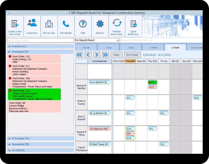 Viewpoint Vista service management dispatch software screenshot in a tablet