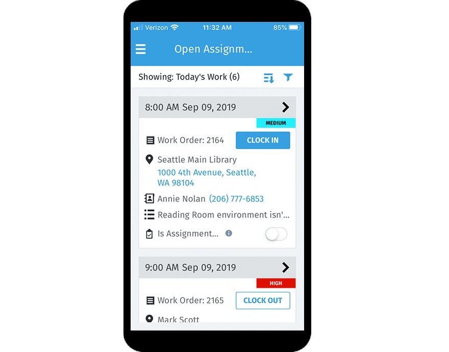 Viewpoint service management software screenshot on a smartphone