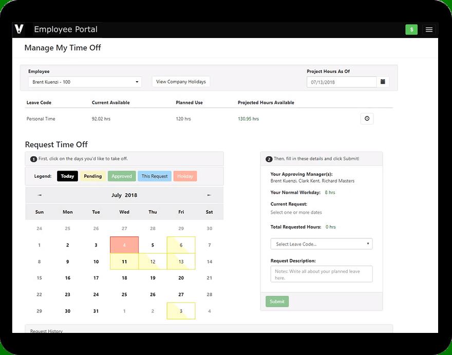 Viewpoint HR management software screenshot in a tablet